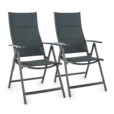 Folding Garden Chair Home Aluminium Patio Durable Outdoor Patio Picnic Grey X 2