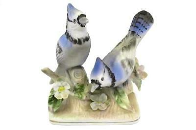 Vintage Blue Jay Figurine Norcrest Japan A215 Ceramic Birds with Flowers Statue