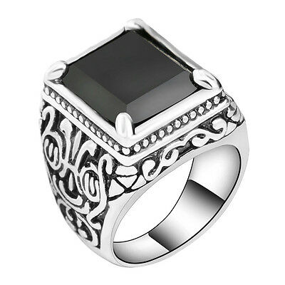 Black Square Onyx Resin Gothic Punk Biker Elegant Silver Plated Men's Ring New