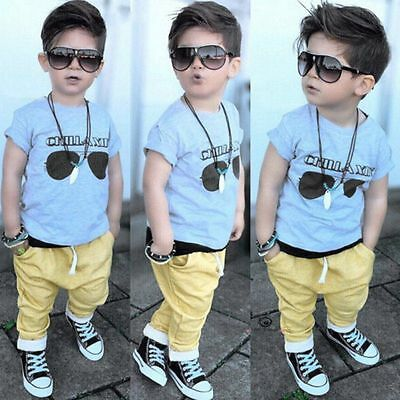 2PCS Casual Toddler Baby Kids Boys Clothes Set Glasses T-shirt Top Pants Outfits