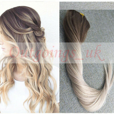 Remy Clip in Human Hair Extensions Ombre Balayage Hair Clips #8#18 Ash Blonde