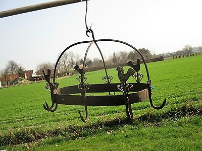 antique French Hanging Butcher Rack Cast Wrought Iron 8 hooks Roosters  Rustic