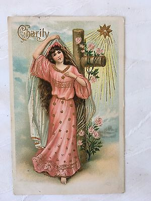 Vintage/antique - Postcard - Colour - Lady In Pink Dress - Used