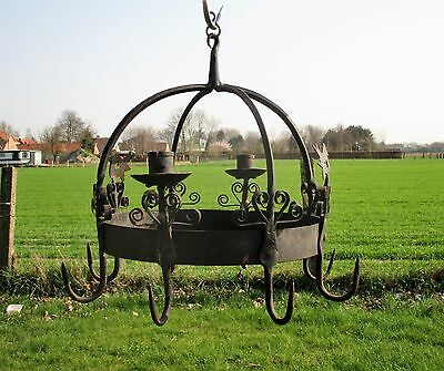 antique French Hanging Butcher Rack Cast Wrought Iron 8 hooks Doves Candlesticks