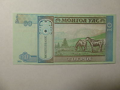 Mongolia Paper Money Currency - 2011 10 Togrog Horses - Crisp Uncirculated
