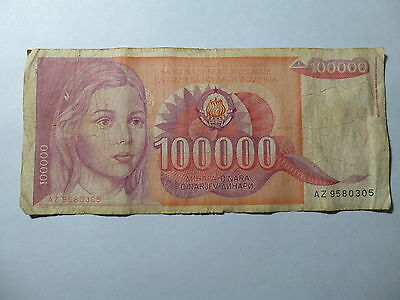 Old Yugoslavia Paper Money Currency - 1989 100,000 Dinara - Well Circulated