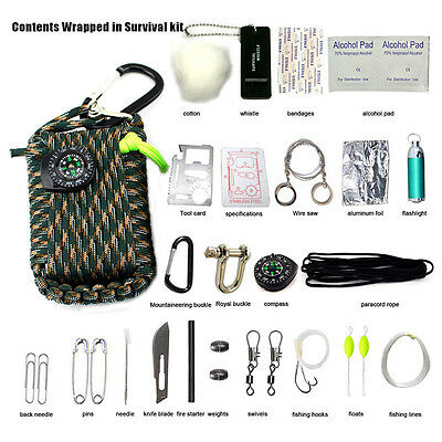 29 in 1 Outdoor Travel Hiking Camping Paracord Survival Kits Emergency Tools