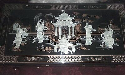 Oriental Coffee Table With Bottom Shelf & Toughened Glass Top