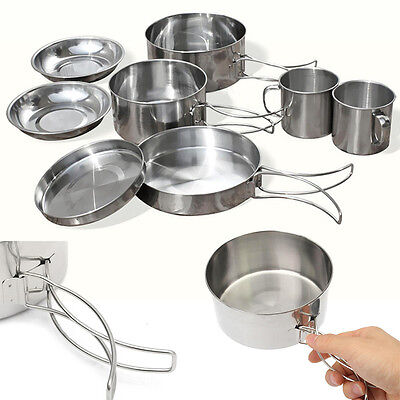8Pcs Outdoor Camping Hiking Cookware Backpacking Cooking Picnic Pot Pan Set Kits