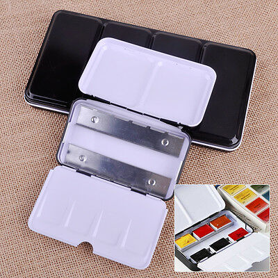 12/48 Colors Half Pan Solid Watercolor Iron Case Paint Box Empty Art Drawing DIY