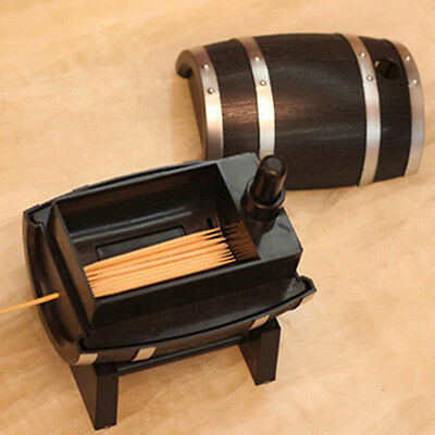 Creative Barrel Automatic Toothpick Box Woodpicker Dispenser Holder Appetizer
