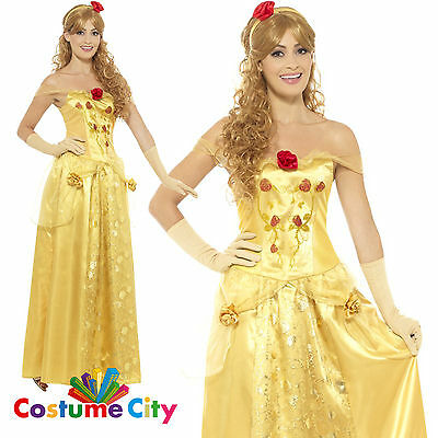 Womens Ladies Golden Princess Beauty and the Beast Belle Fancy Dress Costume