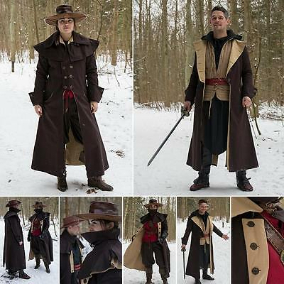 Dark Brown Two Tone Highwayman / Coachman Coat. Perfect for Stage and Costume or