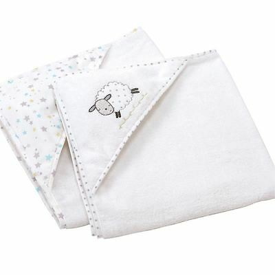 Silver Cloud Counting Sheep Hooded Baby Cuddle Robe Hooded Bath Towels Pack of 2