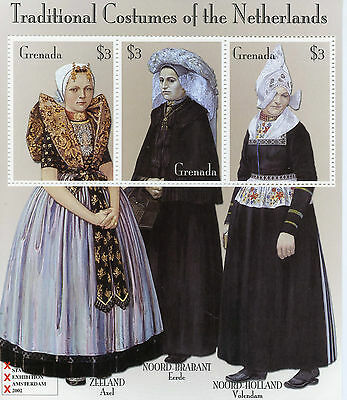 Grenada 2002 MNH Traditional Costumes of Netherlands 3v M/S Volendam Axel Stamps