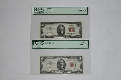 TWO Consecutive Fr.1509 $2 1953 Legal Tender Note 65PPQ Priest/Humphrey