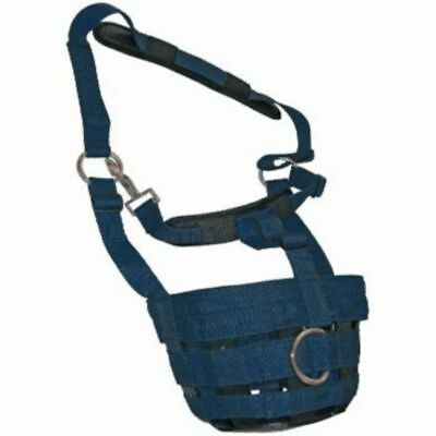 JHL COMFORT GRAZING MUZZLE NAVY for horse fully adjustable with padding