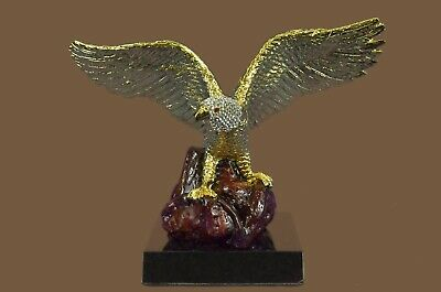 24KT Gold  Silver Plated Bronze American Bald Eagle Sculpture Statue Figurine