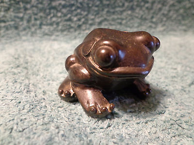 Handcrafted in Canada Black As Coal Frog Figurine USED
