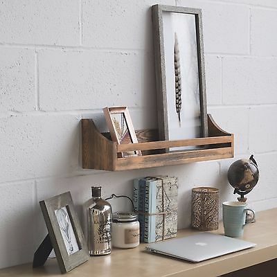 Rustic Wood Wall Shelf 24 Inch Weathered Handmade Reclaimed Style Wooden Multi P
