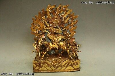 "12""Tibet Buddhism Temple Old Purple Bronze 24K Gold Sit Horse King Buddha Statue"