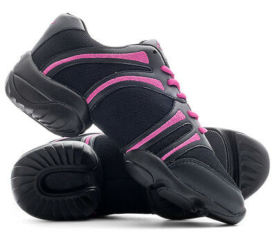 Black And Pink Split Sole Jazz Dance Practice Shoes Sneakers Trainers By Katz