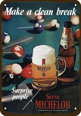 1972 MICHELOB BEER Vintage Look Replica Metal Sign - POOL TABLE BILLIARD BALLS