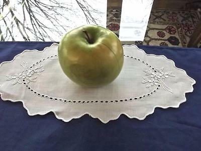 Antique Fancy Oval Bread/Vanity Doily Madeira Embroidered Tiny Flowers Eyelets