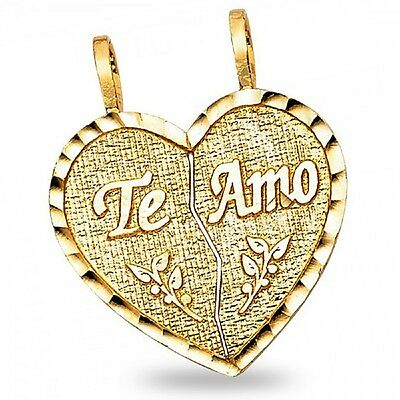 14k Yellow Gold Broken Heart Te Amo Pendant Breakable Love Charm Two Piece