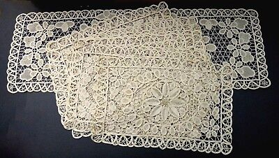 Reticella Lace Placemats & Runner - Set of 12 - Vintage Ornate Hand Done Lace!