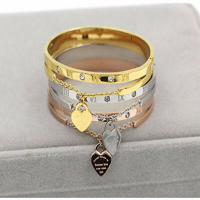 Women Stainless Steel Jewelry Fashion Bracelet Gold Plated Heart Love Bangles