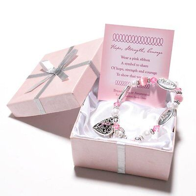 Pink Ribbon Hope Strength Courage Silver Charm Bracelet Gift Boxed