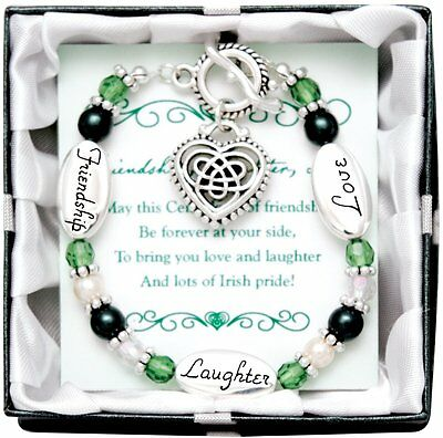Irish Love Laughter Friendship Silver Charm Bracelet Gift Boxed