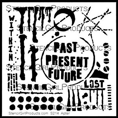"Stencil Girl, Seth Apter, The Altered Page, Stencil, Past Present Future 6""x6..."