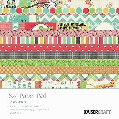 Kaisercraft  6.5in, Paper Pad, Hello Sunshine, Design paper, 40 Page Pad, 2x1...