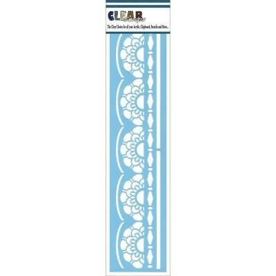 "NEW Clear Scraps Border Stencils 3""x12"", Lace Doily"