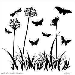 """The Crafter's Workshop Stencils 12""""x12"""" - Butterfly Meadow TCW 197"""