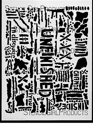 """Stencil Girl Products, Stencil, Seth Apter, the altered page, Unfinished, 9""""x..."""