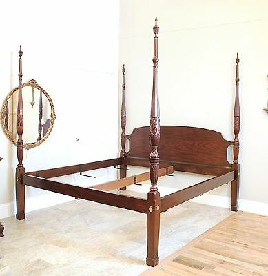 Henkel Harris Mahogany King Rice Carved Poster Bed