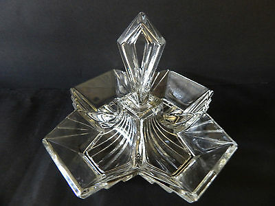 VINTAGE Indiana Glass Pyramid ART DECO DEPRESSION Clear Relish Dish W/Handle