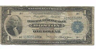 Series of 1918 Federal Reserve Bank BOSTON $1 National Currency Note