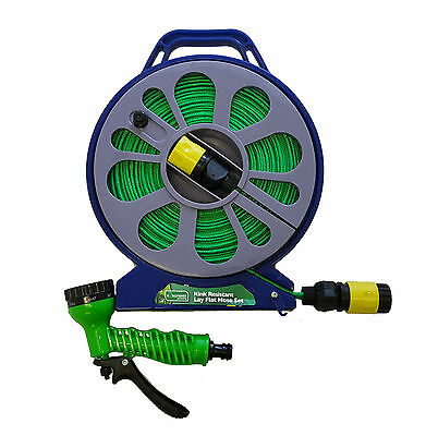 GARDEN GARDENING LAY FLAT WITH NON KINK HOSE PIPE CASSETTE 15M REEL KINGFISHER