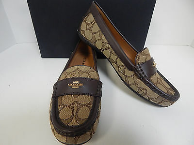 d27ee5f25dc Coach Odette Loafers Signature Canvas Mat Calf with Khaki Chestnut Uppers