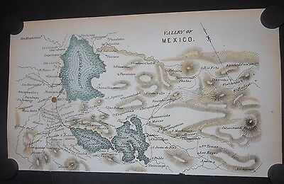 Valley Of Mexico 1849 Map Hand Colored Lakes Texcoco Xochimilco And Chalco