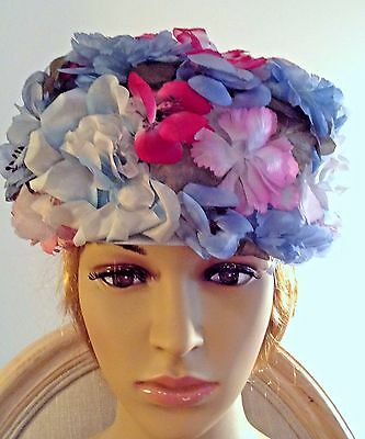 Ladies Evelyn Varon Exclusives Blue w/Pink Silk Floral Pillbox Hat - 22""