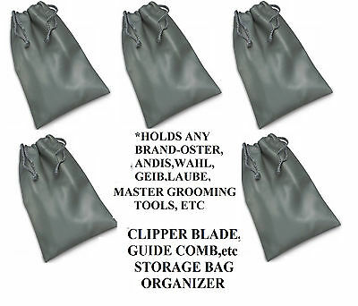 5-Clipper Blade Attachment GUIDE COMB STORAGE BAG Case*For Oster,Andis,Wahl,Geib