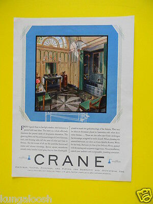 1929  Unique Looking Large Bathroom - Crane Fixtures Sales Art Ad