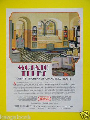 1929 Mosaic Tiles Create Kitchens Of Changeless Beauty - Colorful  Art Sales Ad