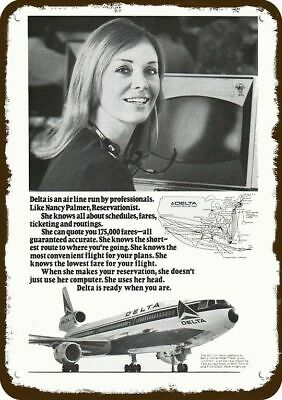 1972 DELTA AIRLINES JET Vintage Look Metal Sign - RESERVATION AGENT NANCY PALMER