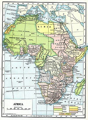 Africa Map Geography 1920s 2 Page Physiography Rainfall Population Hammond